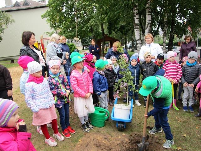 "ENO medžių sodinimo diena Jurbarko ""Ąžuoliuko"" mokykloje"